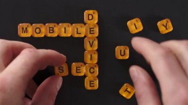 Letter Blocks Spell Mobile Device Security — Stock Video