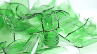 Broken Green Bottles Closeup Dolly — Stock Video