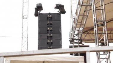 Concert Outdoor Stage Hanging Speakers — Stock Video