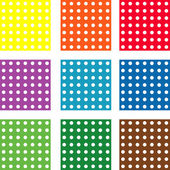 Set of nine vector  patterns with polka dot — Foto Stock