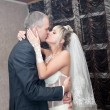 Kiss and dance young bride and groom — Stock Photo #61965439