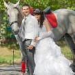 Groom and the bride during walk in their wedding day against a gray horse — Stock Photo #61965949
