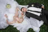 Couple in love bride and groom together in bridal summer day enjoy a moment of happiness and love — Stock Photo