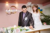 Solemn registration of marriage in the Wedding Palace — Stock Photo
