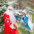 Russian Christmas characters: Ded Moroz (Father Frost) and Snegurochka (Snow Maiden) with gifts bag — Stock Photo #62022325