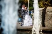 Bride and groom. Wedding walk — Stock Photo