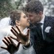 The hands of a bride and a groom on the car window with drops from a rain on the background a kiss of the groom and the bride — Stock Photo #77109777
