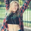 Beautiful young blonde hair woman hipster — Stock Photo #53329731