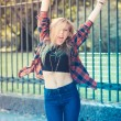 Beautiful young blonde hair woman hipster — Stock Photo #53329741
