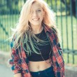Beautiful young blonde hair woman hipster — Stock Photo #53329745