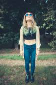 Beautiful young blonde hair woman hipster — Stock Photo