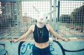 Rabbit mask woman abusrd unreal — Stock Photo