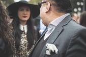 Eccentric and fashionable people during Milan fashion week 2014 — ストック写真