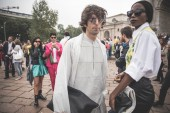 Eccentric and fashionable people during Milan fashion week 2014 — 图库照片