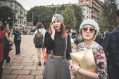 Eccentric and fashionable people during Milan fashion week 2014 — Φωτογραφία Αρχείου