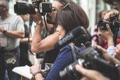 Eccentric and fashionable people during Milan fashion week 2014 — Stok fotoğraf