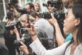 Professional photographers during Milan fashion week 2014 — Stock Photo