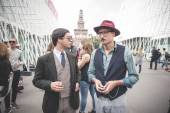 Eccentric and fashionable people during Milan fashion week 2014 — Zdjęcie stockowe