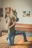 Mask horse lesbian woman — Stock Photo