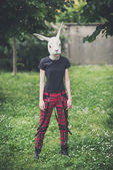 Rabbit mask young lesbian stylish hair style woman — Stock Photo