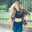 Beautiful young blonde hair woman hipster — Stock Photo #54413217