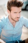 Young handsome hipster modern man outdoor — ストック写真
