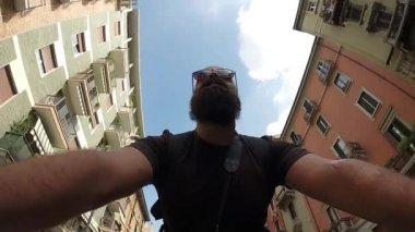 Bearded man riding bike — Stock Video