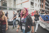 Students manifestation held in Milan on October, 10 2014 — Foto de Stock