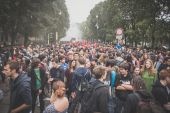 Students manifestation held in Milan on October, 10 2014 — Stock Photo