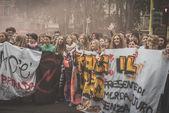 Manifestace studentů v Miláně ve dnech října, 10 2014 — Stock fotografie