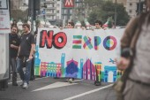 No expo demonstration held in Milan october 11, 2014 — Stock Photo