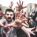 Zombies parade held in Milan october 25, 2014 — Stock Photo #56469075