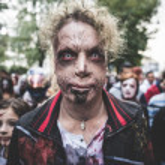 Zombies parade held in Milan october 25, 2014 — Stock Photo #56468209