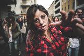 Zombies parade held in Milan october 25, 2014 — Stock Photo