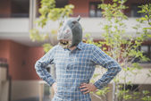 Hippo mask absurd man — Stock Photo