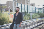 Young handsome attractive bearded model man — Stock Photo