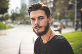 Young handsome bearded hipster man — Stock Photo