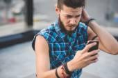 Young handsome bearded hipster man selfie — ストック写真