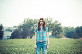Beautiful young hipster woman — Photo