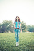 Beautiful young hipster woman — Stock Photo