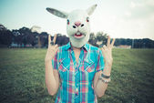 Rabbit mask absurd beautiful young hipster woman — Foto de Stock