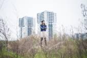 Beautiful woman in a desolate landscape — Stock Photo