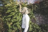 Elephant mask young handsome elegant blonde model man — ストック写真