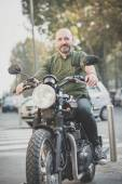 Handsome middle aged man motorcyclist — Стоковое фото