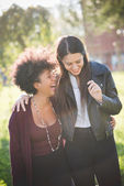 Two young women having fun — Stock Photo