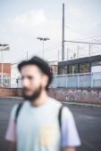Hipster modern man in town — Stock Photo