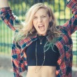 Beautiful young blonde hair woman hipster — Stock Photo #63490283