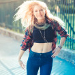 Beautiful young blonde hair woman hipster — Stock Photo #63490343