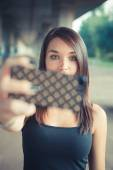Brunette woman with straight hair — Stock Photo