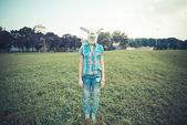 Rabbit mask absurd beautiful young hipster woman — Stock Photo
